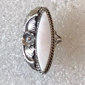 Navajo Sterling Silver White Mother Of Pearl Ring